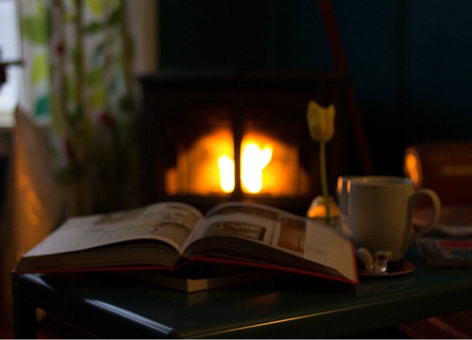 Hygge med bog foran brændeovn